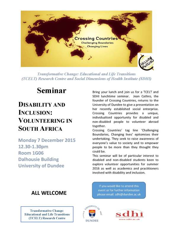 TCELT SDHI Crossing Countries Seminar 7 Dec 2015